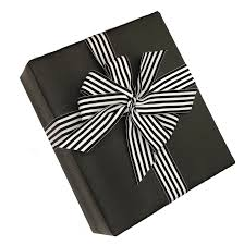 black faux leather gift wrap with black white striped ribbon upscale look for weddings corporate giftore