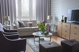 Lilac and Beige Restrained Traditional Apartment Home Interior