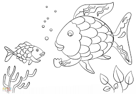 rainbow fish coloring page template pages stuning within