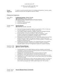Security Resume Objective Examples Police Resume Objective Under Fontanacountryinn Com
