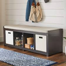 hall cabinets furniture. Entryway Hall Storage Bench Cushion Seat 4Cube Organizer Wood Furniture Espresso Cabinets E