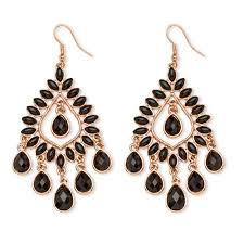 get ations palmbeach jewelry black crystal chandelier earrings rose gold plated