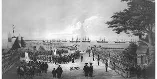 「1854年 - ペリー米東インド艦隊司令長官が7隻の軍艦を率いて2度目の来航」の画像検索結果
