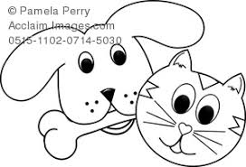 Small Picture Clip Art Illustration of a Cute Little Dog and Cat Coloring Page