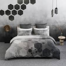 a1 home collections hexad wrinkle resistant reversible print 100 organic cotton black and white queen duvet cover set a1pduv011 queen the home depot