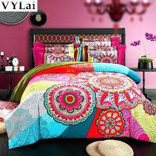 king size duvet cover queen organic cotton bohemian style colourful comforter sets girls modern bedding in