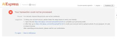 Cannot Payment Failure Transaction Be Aliexpress Processed Your