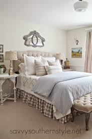 Pottery Barn Bedroom French Country Style Bedroom Upholstered Headboard Tufted Bench