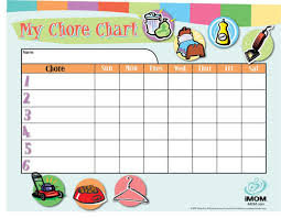 Free Chore List Charts Customizable Chore Chart Imom
