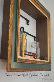diy repurposed picture frame wall shelves tutorial with instructions to make a shelf with a wood