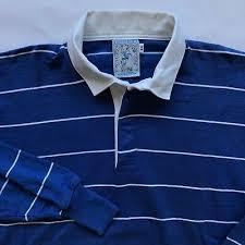 lands end vintage rugby shirt blue white stripe l 2xl vtg 90s long sleeve