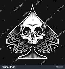 Tattoos Casino Designs Human Skull Spade Suit Drawn Tattoo Royalty Free Stock Image