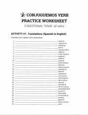 Conditional Prac 2 Pdf 7 Conjuguemos Verb Practice