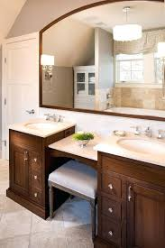 single sink vanity with dressing table bathroom traditional with arced mirror bench beautiful double sink vanity
