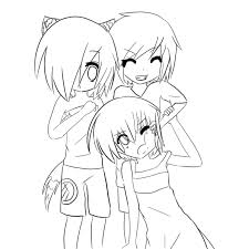 Small Picture Pics Of Anime Friends Boy And Girl Coloring Pages Anime Girl