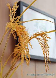 <b>6 PCS</b> Beautiful Artificial yellow paddy Rice plastic plant <b>Home</b> ...