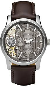 17 best images about watches for men skeleton fossil men s me1098 brown leather strap textured taupe cutaway analog dial chronograph watch < 111 96 >