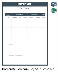 Paystub Excel Template Salary Pay Stub Template Pay Stub Template For Word Salary Pay Stub