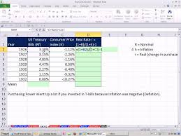 Excel Finance Class 100 Real Rate And Inflation Or Deflation For T