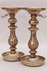 ornate cast metal candlesticks vintage candle holders w antique