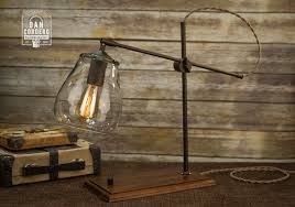Glass Shade Edison Bulb Table Lamp Clutch Swivel Bronze