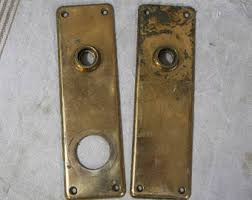 door knob plate. vintage matching escutcheon back plates-ornate door hardware- salvaged door knob plate- plate g
