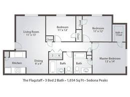 2d the flagstaff contains 3 bedrooms and 2 bathrooms in 1034 square feet of living