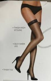 Hanes Thigh Highs Size Chart Details About Hanes Silk Reflections Sheer Lace Top Thigh High Little Color Pantyhose Size Cd