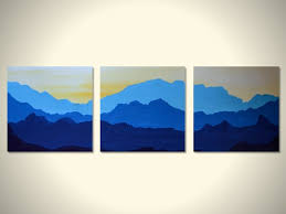 large original 3 panels landscape wall art blue yellow white mountain view early morning cold weather  on 3 piece wall art mountains with wall art 10 best pictures landscape wall art landscape art prints