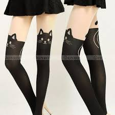 Details About Cute Womens Girls Cat Tail Gipsy Mock Knee High Hosiery Pantyhose Tattoo Tights