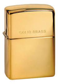 <b>Зажигалка бензиновая Solid Brass</b> (золотистая) от Zippo купить в ...