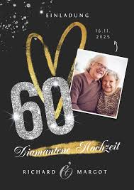 Zwei jubelpaare aus enns, die kürzlich ihre diamantene hochzeit feierten, verraten ihr rezept für ewige liebe. Einladung Diamantene Hochzeit Fotos Glitzer Kaartje2go