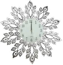decorative crystal leaf metal wall clock glass dial perfect for housewarming gift lulu decor