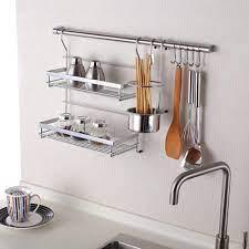 mild steel silver kitchen wall rack