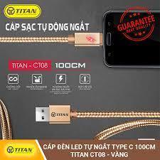 Cáp Đèn LED Tự Ngắt TYPE C TITAN CT08 dài 1m sợi cáp dù chống rối ,truyền  tải nhanh ,tự động ngắt khi sạc đầy pin