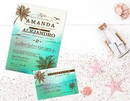 Beach Invitation Digital Beach Palm Tree Sea Green Wedding Invitation