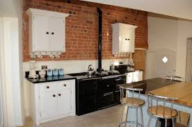Red Brick Flooring Kitchen Swedish Kitchen Design Ideas With White Cabinetry Also Black Panel