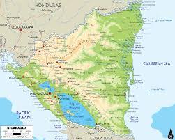 physical map of nicaragua  ezilon maps
