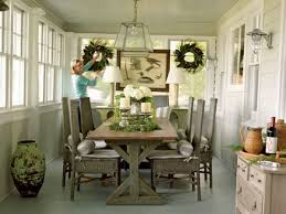 informal dining room sets. A Casual Case This Porch-turned-dining Room Is Effortlessly Chic. Wicker Chairs Are Spruced Up With Bolster Pillows, And Hanging Lantern Brings Extra Informal Dining Sets
