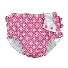 Ruffle Snap Reusable Absorbent Swimsuit Diaper Pink Sealife