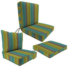 Outdoor Seat Cushion Collection in Sunbrella Astoria Lagoon Bed