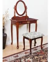 Acme Furniture Queen Anne Cherry (Red), Oak, And White Vanity Set (