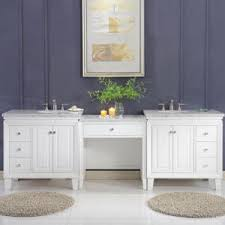 double bathroom vanity with makeup area. complete your bathroom project with this beautiful looking makeup table and sink vanity cabinet matched collection. shown above: 68\ double area i
