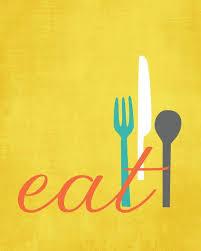 kitchen wall art print set eat drink