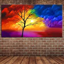 colorful clouds oil painting modern abstract tree canvas art hand drawing wall mural poster acrylic painting