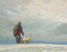sold winter dog walk by steve coffey 8 x 10 oil 740 unframed
