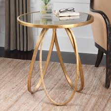 montrez gold accent table forged metal frame round antiqued mirror top original 3 circle base with gold leaf finish 284