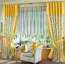 Yellow Curtains For Living Room Yellow Blossom Fabric Curtains On The Hook Connected By Yellow