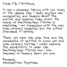 Collection Of Solutions Thank You Letter Job Interview Handwritten