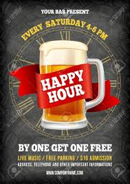 Happy Hour Flyer Happy Hour Free Beer Vintage Illustration Template For Web